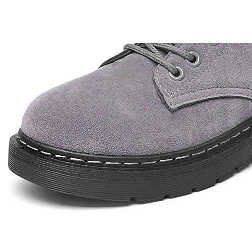 Lacet Daim 37 En Coton Peluche Chaussures Court Décontracté Cuir Talon En Hiver Martin Plat Femmes Cheville Bottes Longue Chaud Rétro GRIS Neige Z1W0I