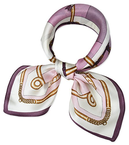 corciova Women 100% Mulberry Silk Neck Scarf Small Square Scarves Neckerchiefs Classic Rose Chains Belts Grid Design