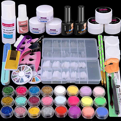 Acrylic Nail Kit Acrylic Powder Liquid Brush Glitter Clipper File Tips Gel Nail artwork Tools Kit Professional Acrylic Nail Set