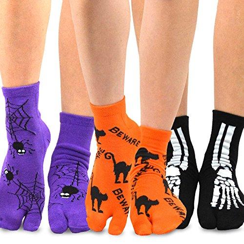Halloween Toes Designs (TeeHee Flip Flop Big Toe Cotton Socks 3-Pairs Pack (Spider)