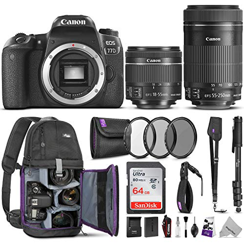 Canon EOS 77D DSLR Camera with 18-55mm is STM and 55-250mm Lenses Kit w/Advanced Photo and Travel Bundle – Includes: Altura Photo Backpack, SanDisk 64gb SD Card, Monopod, Filter Kit and Neck Strap