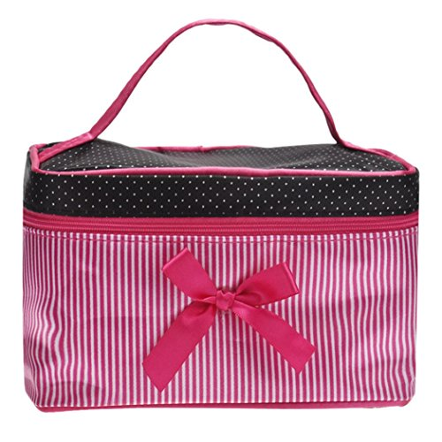 Clearance! Cosmetic Bag, Stripe Bowknot Portable Large Travel Toiletry Bag Makeup Case Organizer Storage (A)