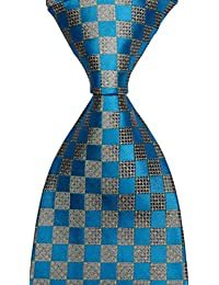 Mr.ZHANG New Classic Checks JACQUARD WOVEN Silk Men's Tie Necktie