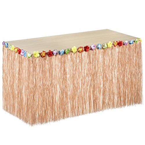 Hawaiian Luau Table Skirt with Tropical Flower Trim - Dimensions 97'' X 29'' - Perfect Luau Beach Party Decoration - Haute Soiree]()