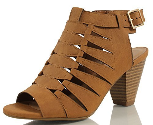 City Classified Women's Lineup Faux Leather Open Toe Gladiator Cutout Cone Stacked Heels, Tan, 75 M US (Classified Womens Shoes Wedge)