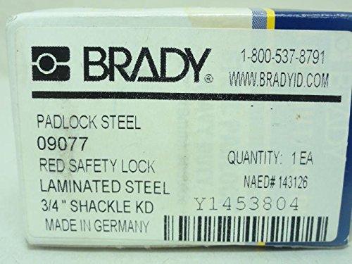 Brady 9077 Safety Lock, Red Laminated, 3/4'' Shackle