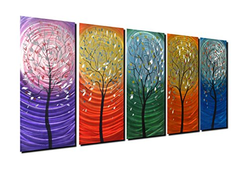 Winpeak Art Colorful Aluminum Tree Metal Wall Art Abstract Modern Painting Contemporary Hanging Wall Décor Large Indoor and Outdoor Decorative Artworks for Home Decoration