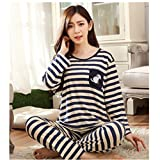 KAKA(TM) Women's Fashion Cartoon Streak Pattern Pure Cotton Pyjamas Homewear Sleepwear Set Long Sleeve Long Pants-XXL