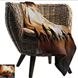smllmoonDecor Soft Blanket Halloween Zombies Dead Men Walking Body in The Doom Mist at Night Sky Haunted Theme Print Sofa Chair W60 xL51 Sofa,Picnic,Camping,Beach,Everyday use