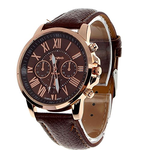 Joylive Men Leather Belt Fashion Watches Three Six-Pin Quartz Watches Business Casual Dress Brown by Joylive