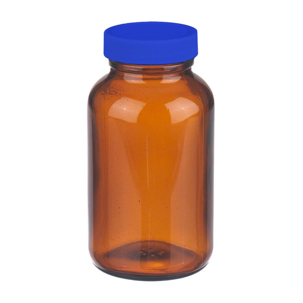 I-Chem Brand 141-0250 Amber Glass 250mL 100 Series Type III Wide Mouth Jar, with PTFE-Lined Polypropylene Closure (Case of 12)