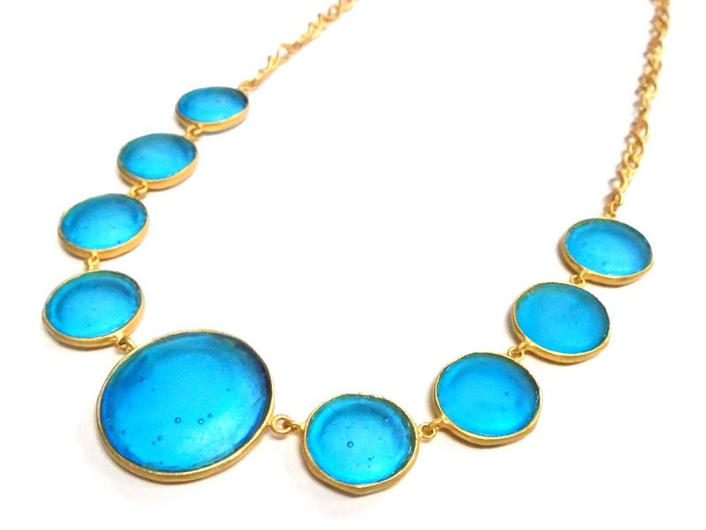 Michael Vincent Michaud Glass Round Bib Necklace in Turquoise