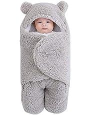 Yissone Pasgeboren Baby Inbakeren Deken Zachte Warme Hooded Wrap Slaapzak Voor Pasgeboren Baby Baby Jongens En Meisjes (Grijs 6 Maand)