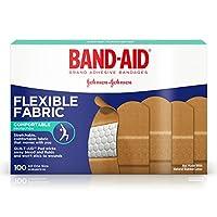 Band-Aid Bandas adhesivas de tela flexible para el cuidado de heridas y primeros auxilios, todas de talla única, 100 ct