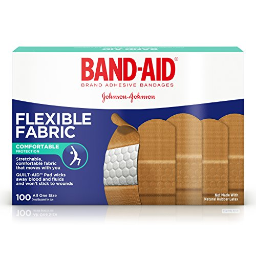Band-Aid Brand Flexible Fabric Adhesive Bandages For Minor Wound Care, 100 Count (Sterile Flexible Adhesive Fabric Bandages)