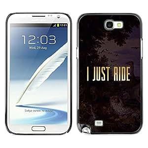 FECELL CITY // Duro Aluminio Pegatina PC Caso decorativo Funda Carcasa de Protección para Samsung Note 2 N7100 // Just Ride Religion Horse Freedom Gold Text
