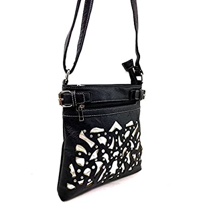 Justin West Concealed Carry Rhinestone Laser Cut Gleaming Silver Messenger Cross Body Handbag Purse