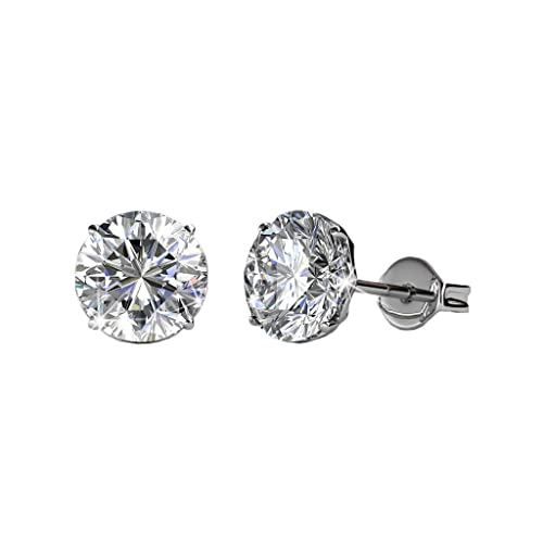 b3fb6fe87 Cate & Chloe Mallory 18k White Gold Stud Solitaire Earrings with Swarovski  Crystals, Classic Shiny