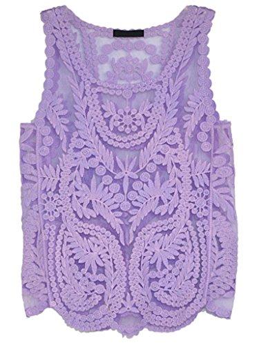 Persun Floral Purple Sleeveless Crochet