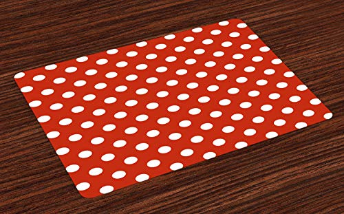 Ambesonne Retro Place Mats Set of 4, Vintage Polka Dots with Big White Circular Round Forms Nostalgic Girlish Kitsch Art Design, Washable Fabric Placemats for Dining Room Kitchen Table Decor, Red