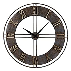 Old Oak 30-Inch Large Metal Silent Non-Ticking Decorative Rusty Wall Clock with Roman Numerals