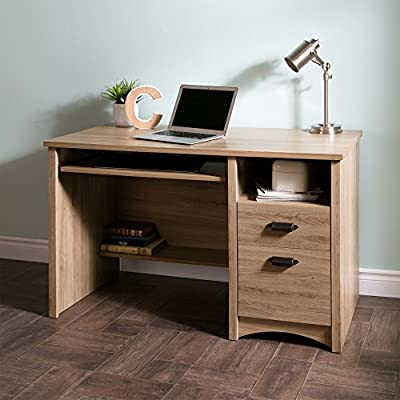 South Shore Computer Desk with 2 Drawers and Keyboard Tray, Rustic Oak - Storage desk: Perfect for working from home, this desk features generous drawers, shelves and storage compartments to keep your home office organized. Warmth and style: with a rich finish and striking contemporary lines, this elegant desk will blend effortlessly with any home office or living space decor. Modern details: ideal as a computer desk, This Furniture features a keyboard tray with smooth metal drawer slides and open back for wires, with a traditional fixed shelf underneath. - writing-desks, living-room-furniture, living-room - 51e2B%2B0zF6L. SS400  -