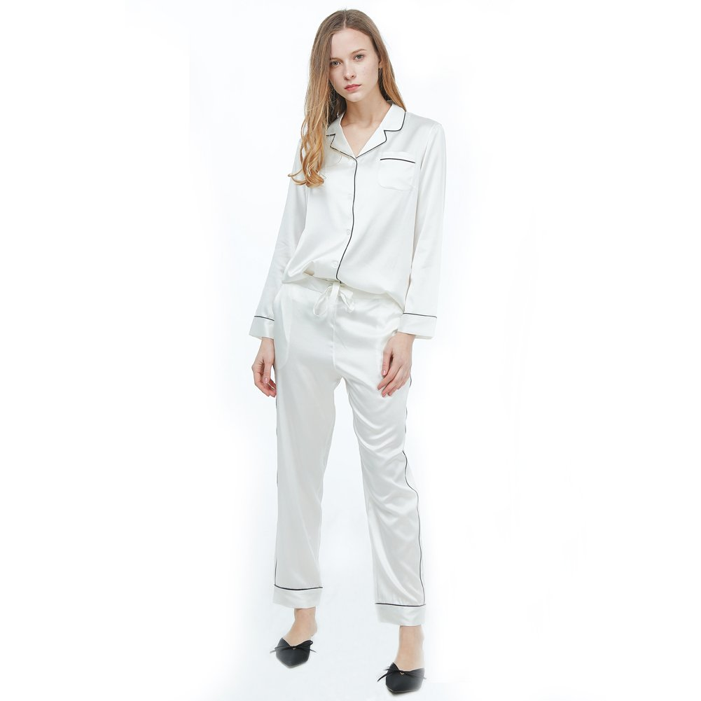 R.Rgrenen Silk Pajamas Set For Women Long Sleeve 22 Momme Mulberry Silk Two-Piece Sleepwear Button-Down PJ Set (0711001,White,S)