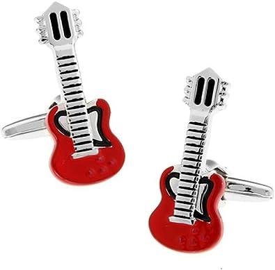 Gemelos rojos de guitarra eléctrica en una caja de presentación ...