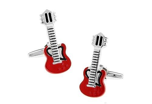 Ashton and Finch Gemelos de Guitarra eléctrica roja. Novedad, Musica, Tema, Joyas: Amazon.es: Joyería