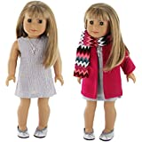 """PZAS Toys American Girl Doll Clothes - 5 Piece Winter Coat Set fits 18"""" Dolls, Including Dress and Necklace"""