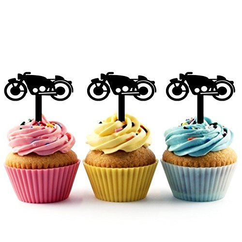 TA0212 Motorcycle Silhouette Party Wedding Birthday Acrylic Cupcake Toppers Decor 10 pcs -