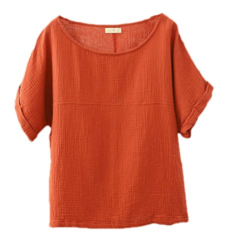 - Soojun Women's Solid Round Collar Linen Tops Patchwork Shirts Blouses Orange, Medium
