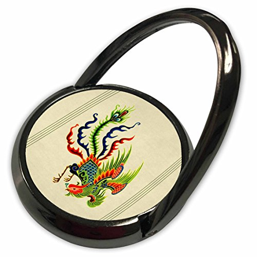 - 3dRose Jaclinart Animal Chinese Bird Swooping Rooster - Green, blue and red swooping Chinese rooster with cream background and dark line accents - Phone Ring (phr_53930_1)