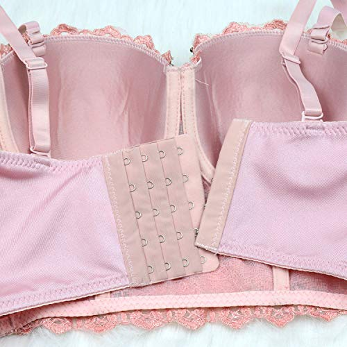134eb6d10bc ELLACCI Women's Natural Reigning Lace Rhinestone Bustier Crop Top Sexy Mesh  Corset Top Bra Large Pink