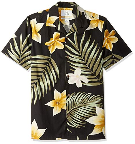 - 28 Palms Men's Standard-Fit 100% Cotton Tropical Hawaiian Shirt, Oversize Black/Gold Plumeria Medium