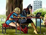 Batgirl and Superwoman Bored Playmat + Free RFG Small Sized Sleeves 75 Count