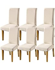 Fuloon 4 6 Pack Super Fit Stretch Removable Washable Short Dining Chair Protector Cover Seat Slipcover for Hotel Dining Room Ceremony Banquet Wedding Party (6, Beige)