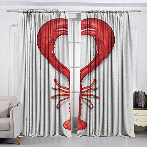 VIVIDX Rod Pocket Window Curtain Panel,Sea Animals,A Boiled Lobster Shaped as A Heart Symbol Seafood Love Valentines Restaurant Menu Art,Insulated with Curtains for Bedroom,W55x63L Inches Red