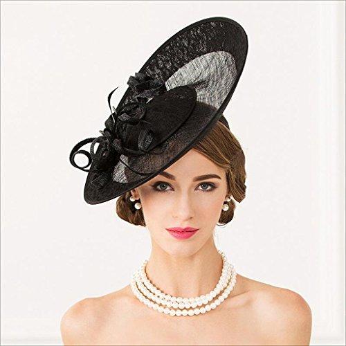 Mbd Banquet Hemp Yarn Hat British Royal Horserace Hat for Lady Hair Accessories Bowler Hat