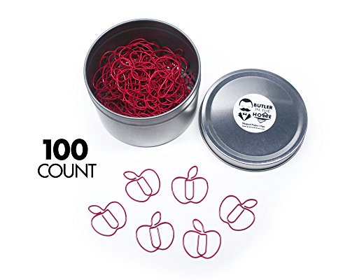 Butler in the Home Fruit Apple Shaped Paper Clips Great For Paper Clip Collectors or a Teacher Gift - Comes in Round Tin with Lid and Gift Box (Red 100 Count) -