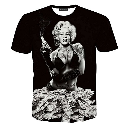 Hatton Men's 3D Print Marilyn Monroe Gun Money Cotton T-shirt S Black ()