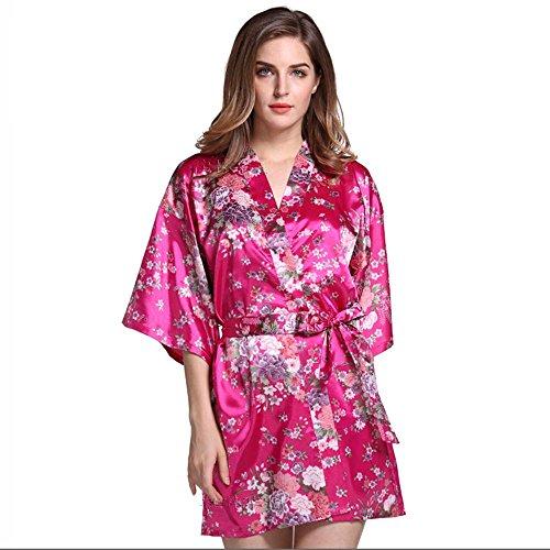 La Sra párrafo chaqueta corta impresa primavera y el verano camisón de peonía bata corta plum red