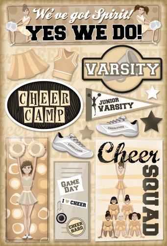 Single Page Scrapbook Layout - Karen Foster Design Acid and Lignin Free Scrapbooking Sticker Sheet, Cheer Camp