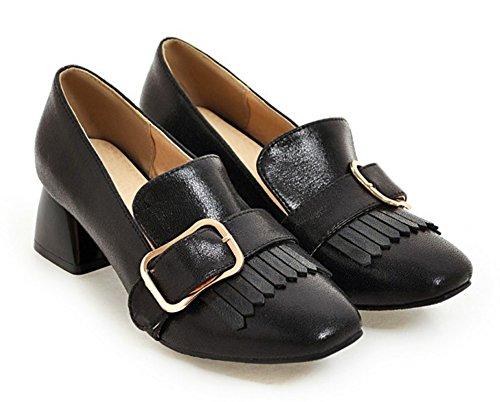 Aisun Mujeres Nueva Correa Con Hebilla Con Flecos Square Toe Slip On Dress Chunky Low Heels Mocasines Zapatos Negro