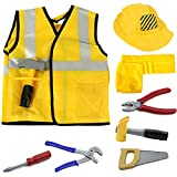 iPlay, iLearn Construction Worker Costume Role Play Kit Set, Engineering Dress Up Gift Educational Toy for Halloween Activities Holidays Christmas for 2, 3, 4, 5, 6, 7 Year Old Kids Toddlers Boys