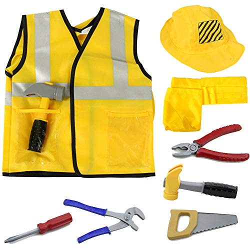 iPlay, iLearn Construction Worker Costume Role Play Kit Set, Engineering Dress Up Gift Educational Toy for Halloween Activities Holidays Christmas for 2, 3, 4, 5, 6, 7 Year Old Kids Toddlers Boys -