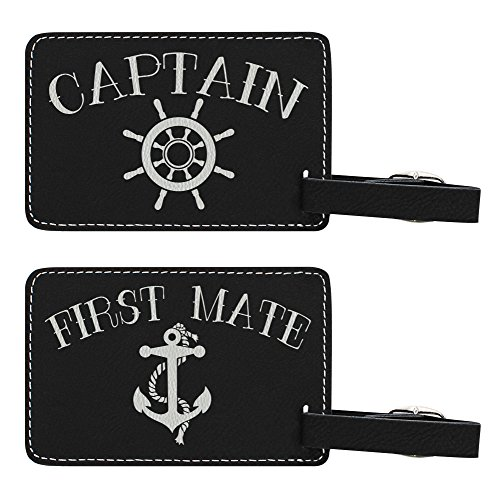 Captains Line Model Ships (Couples Cruise Luggage Tags Captain & First Mate Matching Luggage Tags for Cruise Ships Gifts 2-pack Laser Engraved Leather Luggage Tags Black)