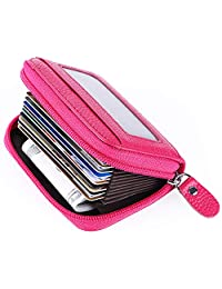 MaxGear Womens Credit Card Holder Wallet Zip Leather Card Case RFID Blocking Rose Red