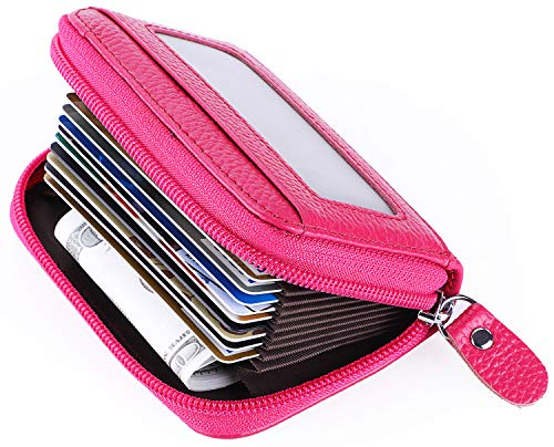 Leather Credit Card Holder Credit Card Wallet with Zipper Genuine Leather Credit Card Protector RFID Small Zip Around Wallet Red (Best Credit Card Wallet 2019)