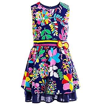 Amazon.com: Little Girls Floral Dress, Sleeveless Cotton Country ...